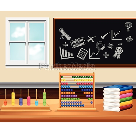 classroom with books and instruments