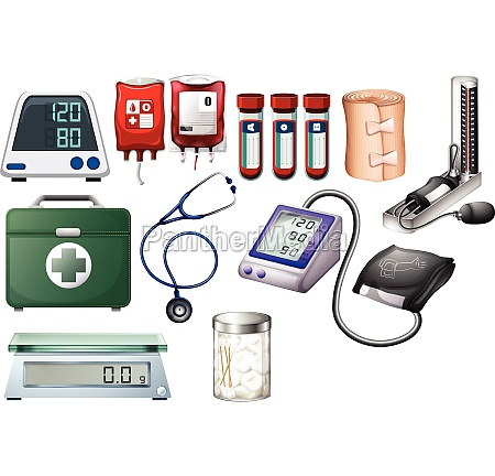 medical and nursing equipments on white