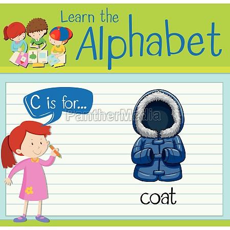 flashcard alphabet c is for coat