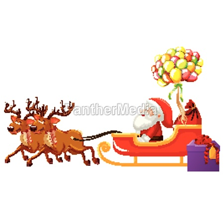 santa claus riding on sleigh with