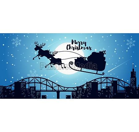 merry christmas card santa sleigh