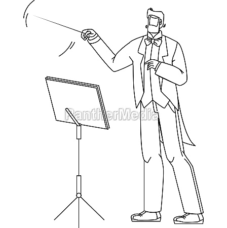 music conductor man conducting orchestra vector