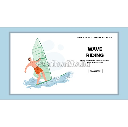 wave riding extremal sportsman on windsurf