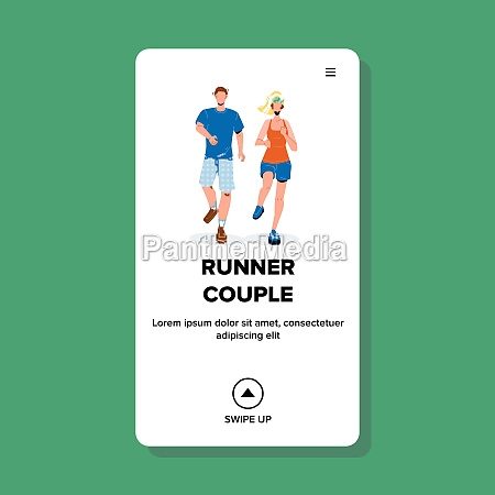 runner couple young man and woman