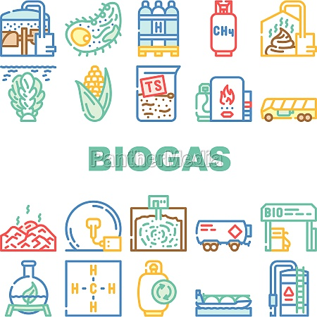 biogas energy fuel collection icons set