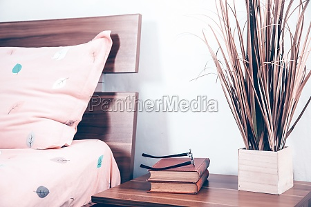 interior of modern bedroom with cozy