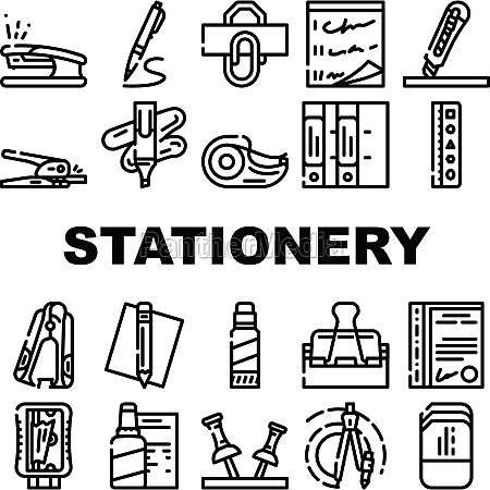 stationery equipment collection icons set vector