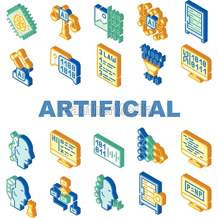 artificial intelligence system icons set isolated