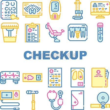 medical checkup health collection icons set