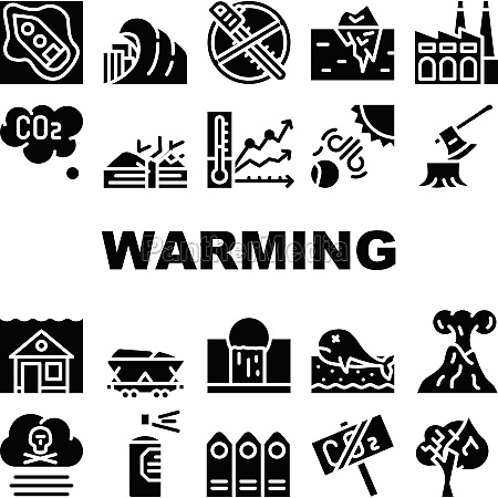 global warming problem collection icons set