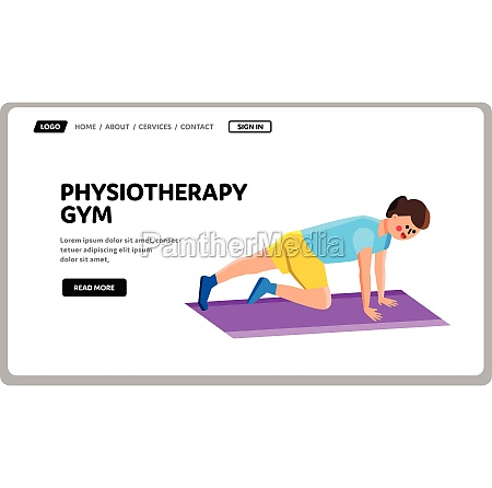 physiotherapy gym exercising young man vector