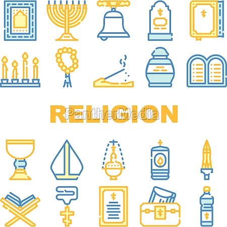religion holy praying collection icons set