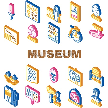 museum exhibits and excursion icons set