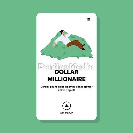 dollar millionaire relaxing on money stack