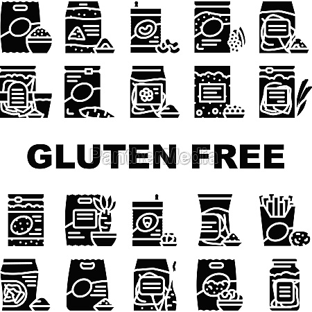 gluten free products collection icons set