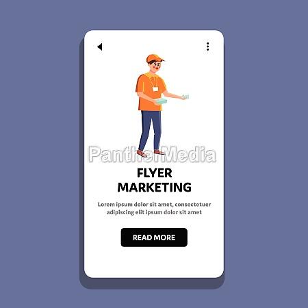 flyer marketing promoter man distribution vector