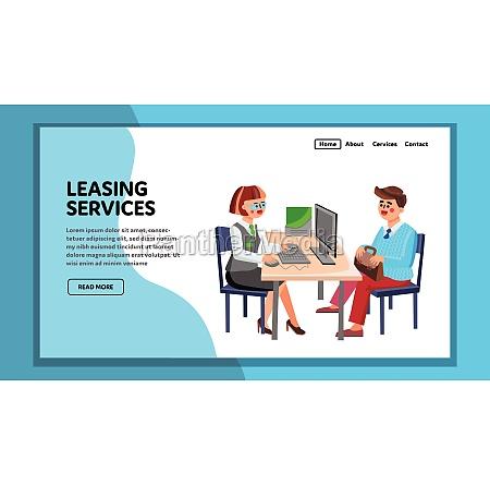 leasing services consultant advising client vector