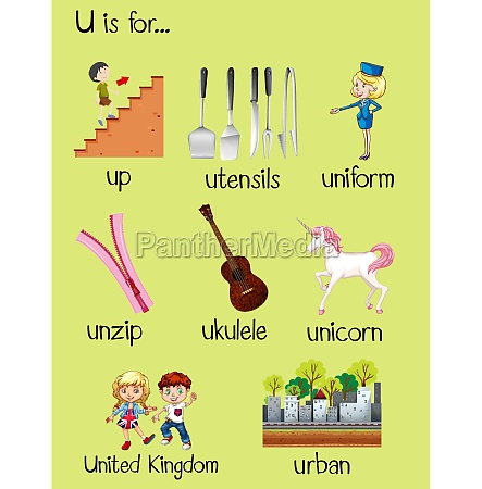 many words begin with letter u