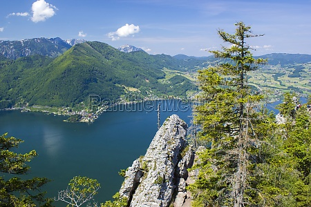 traunsee lake with alps mountain and