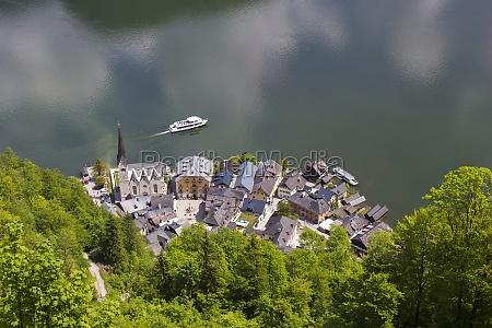 aerial view of a hallstatt village
