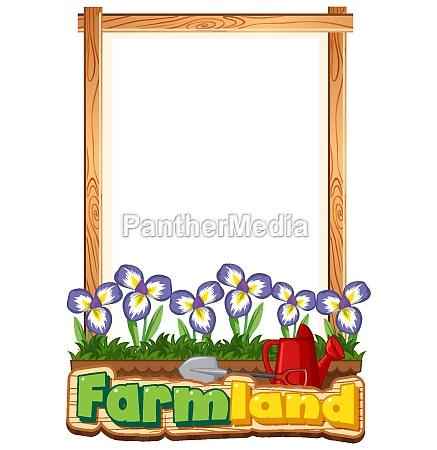 border template design with iris flowers
