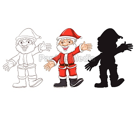 sketches of santa claus in three