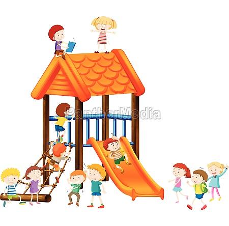 children playing on slide