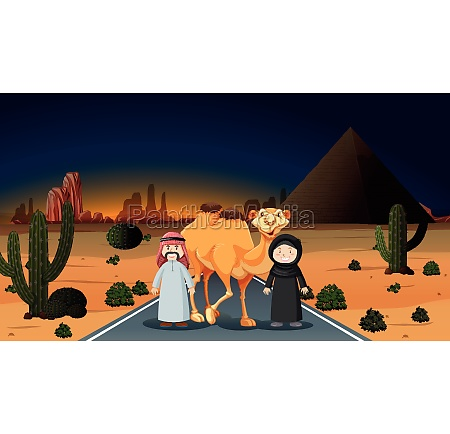 arab couple with camel on the