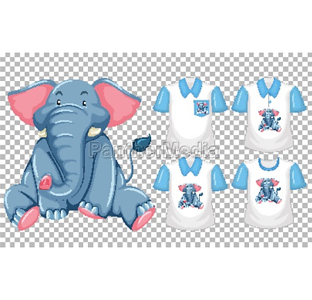 set of different shirts with elephant