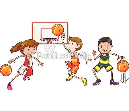 three people playing basketball