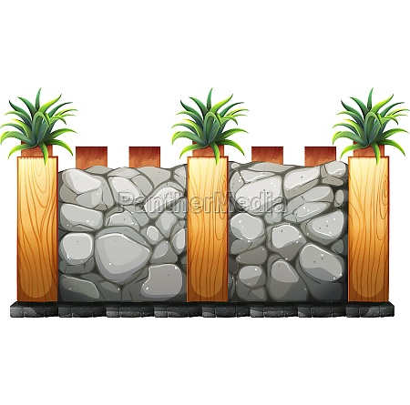 fence made from stones and wood