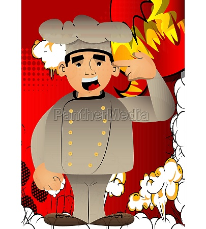 chef putting an imaginary gun to