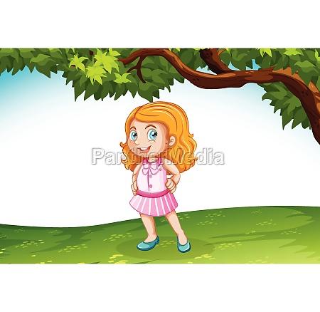 caucasian girl in nature