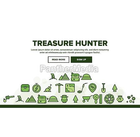 treasure hunter landing header vector
