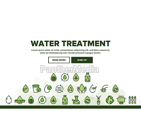 collection water treatment signs icons set