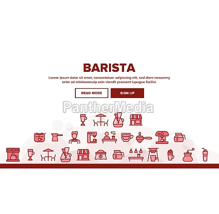 collection barista equipment sign icons set