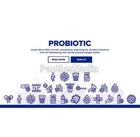 probiotic bacteria landing header vector