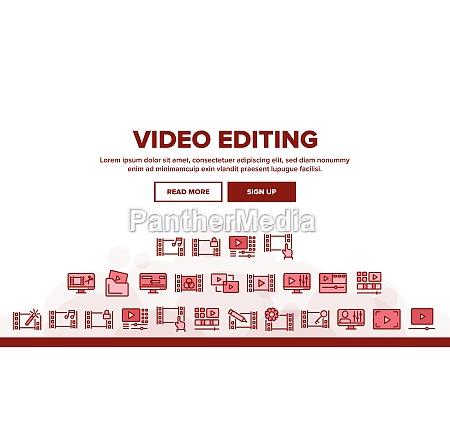 video file editing landing header vector