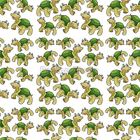 green turtle seamless pattern