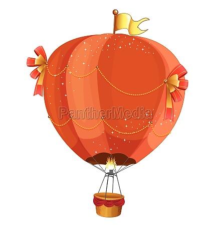 fancy hotair balloon flying on white