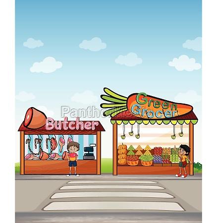 a butcher shop and a fruit