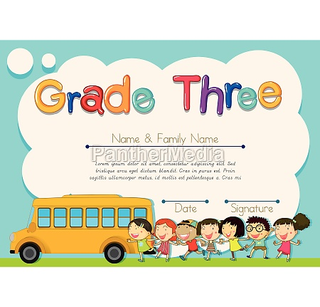 grade four diploma with schoolbus and