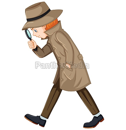 detective looking for clues with magnifying