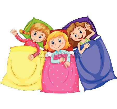 girls in pajamas at slumber party