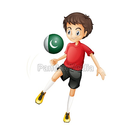 a boy using the ball with