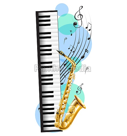piano and saxophone with music notes