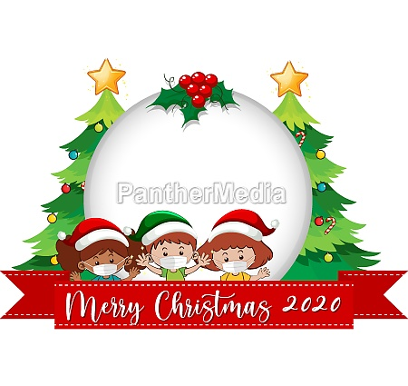 blank circle banner with merry christmas