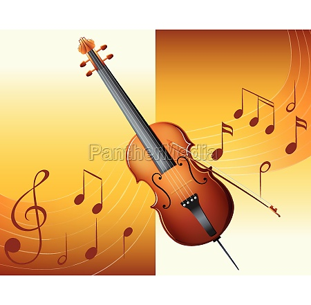 violin with music notes in background