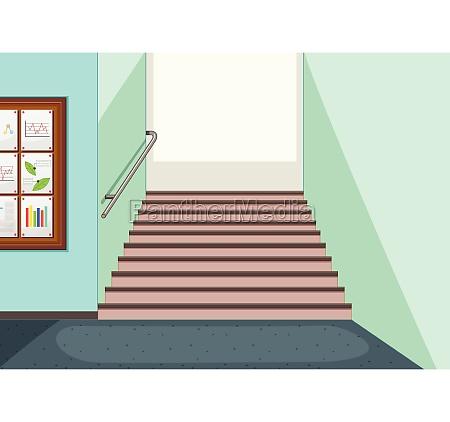 empty hallway staircase background
