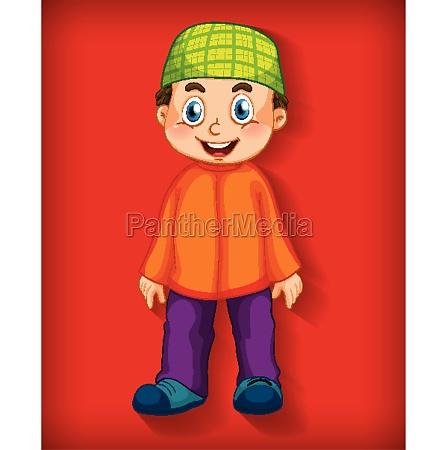 male muslim cartoon character colour gradient